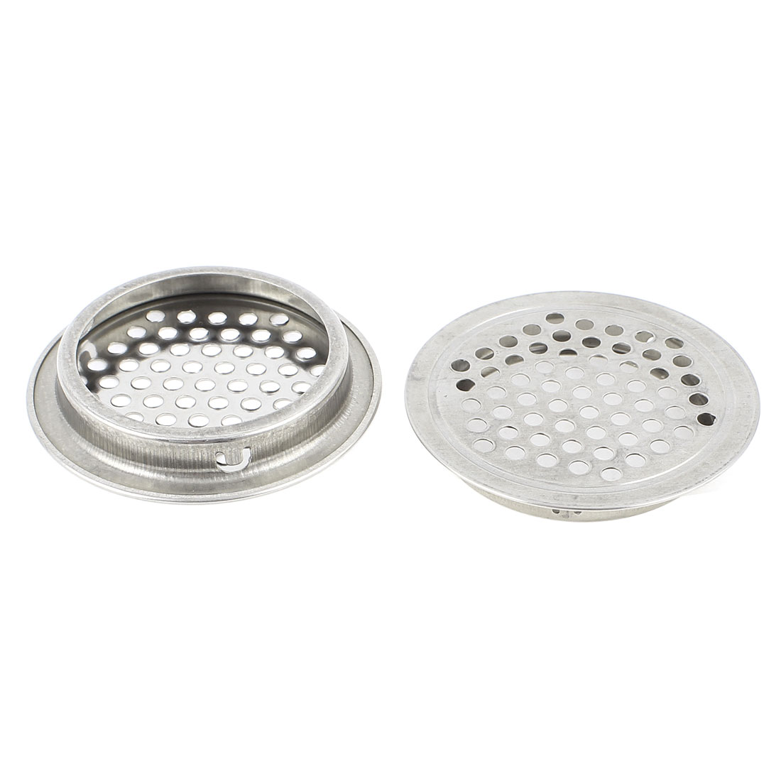 2Pcs 52mm Bottom Dia Round Stainless Steel Perforated Mesh Air Vents Louvers
