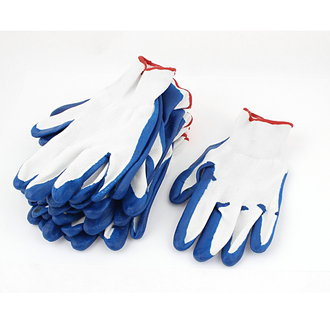 Industry White Blue PVC Nylon Full Finger Working Hand Protective Gloves 6 Pairs