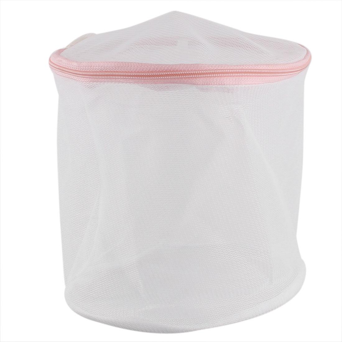 Cylindrical Folding Underclothes Bra Stockings Zippered Mesh Washing Bag White