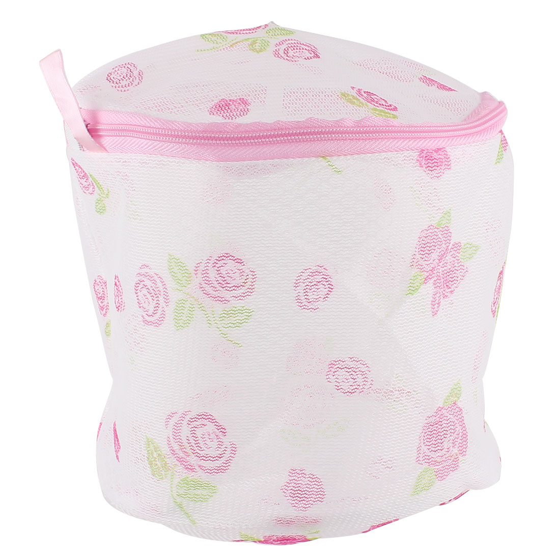 Flower Print Folding Underclothes Bra Stockings Zippered Mesh Washing Bag