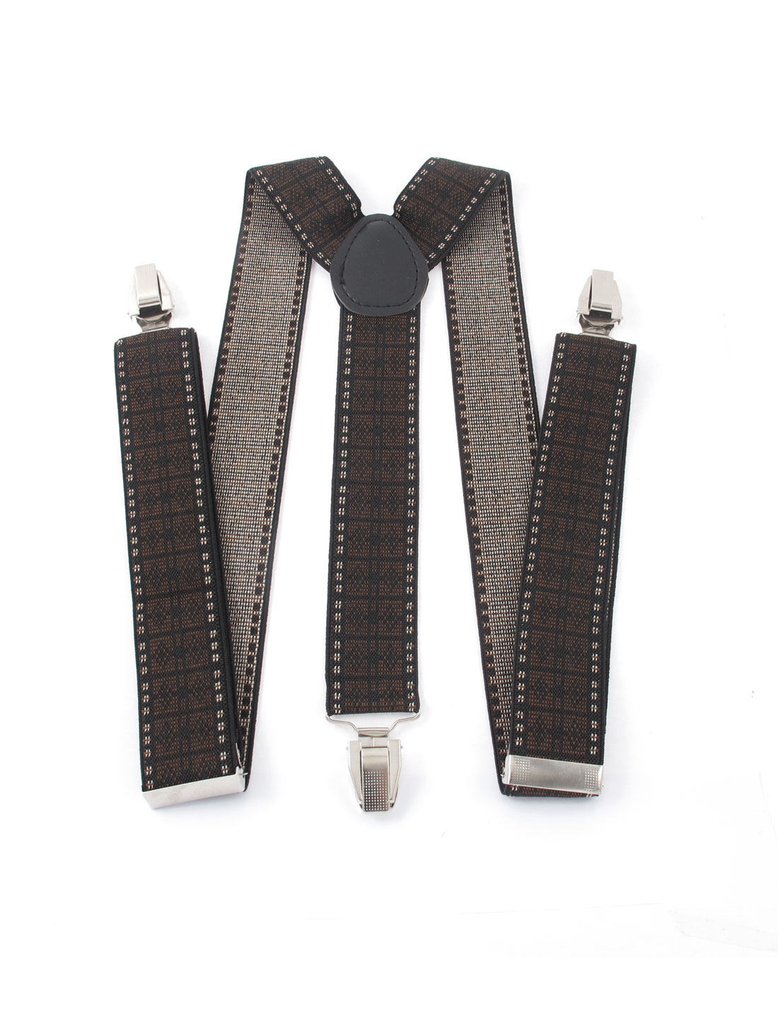 Adjustable Elastic Y-Shape 3 Clips Design Clip-on Suspender Braces Black Brown