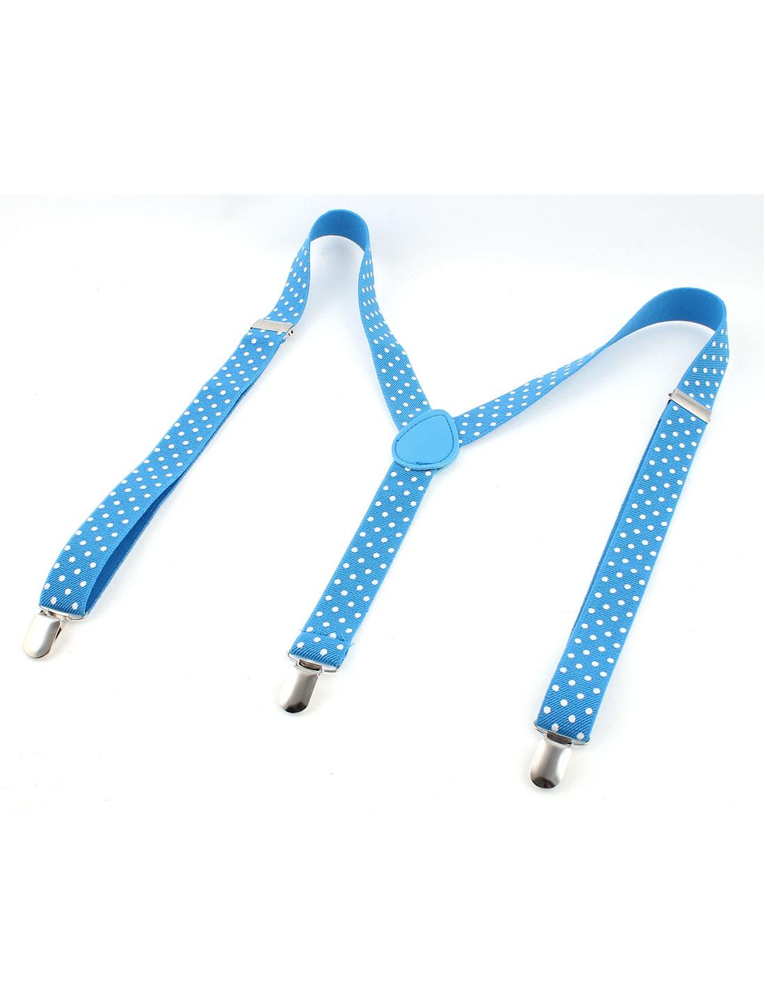 White Dots Print Y Shape Elastic Adjustable Clip Galluses Suspender Braces Blue