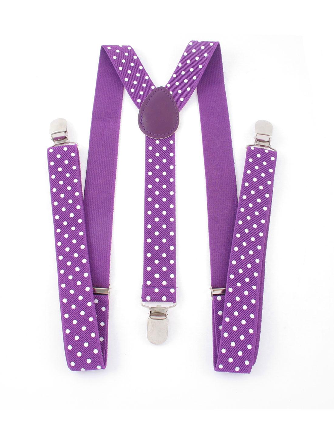 Woman Adjustable Stretchy Y-Shape 3 Clips Design Trouser Suspender Braces Purple