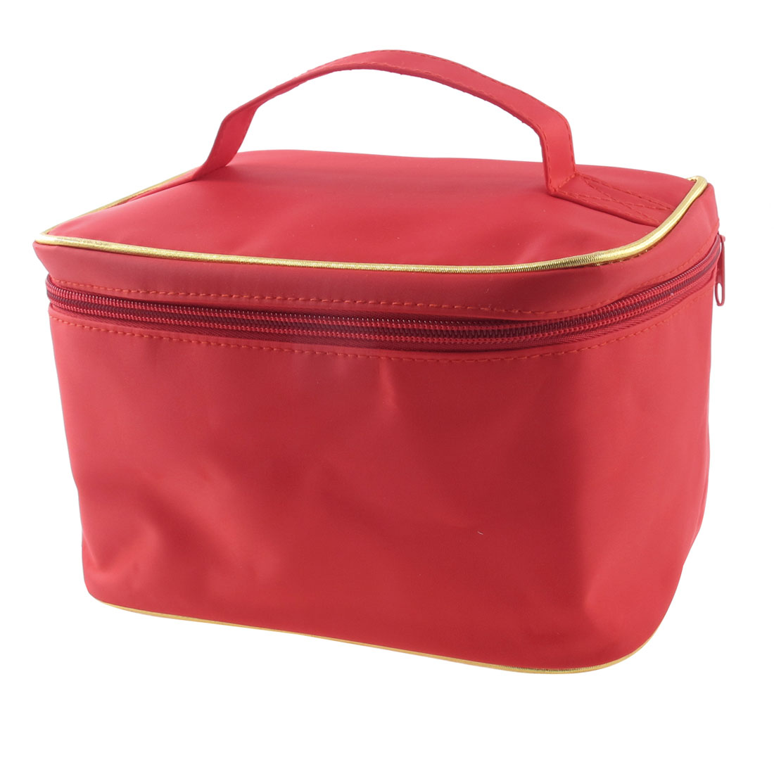 Woman Zipper Closure Traveling Cosmetic Bag Purse Organizer Tool w Mirror Red