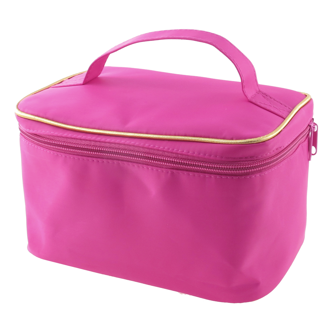 Woman Zipper Closure Traveling Cosmetic Bag Purse Organizer Tool w Mirror Fushcia