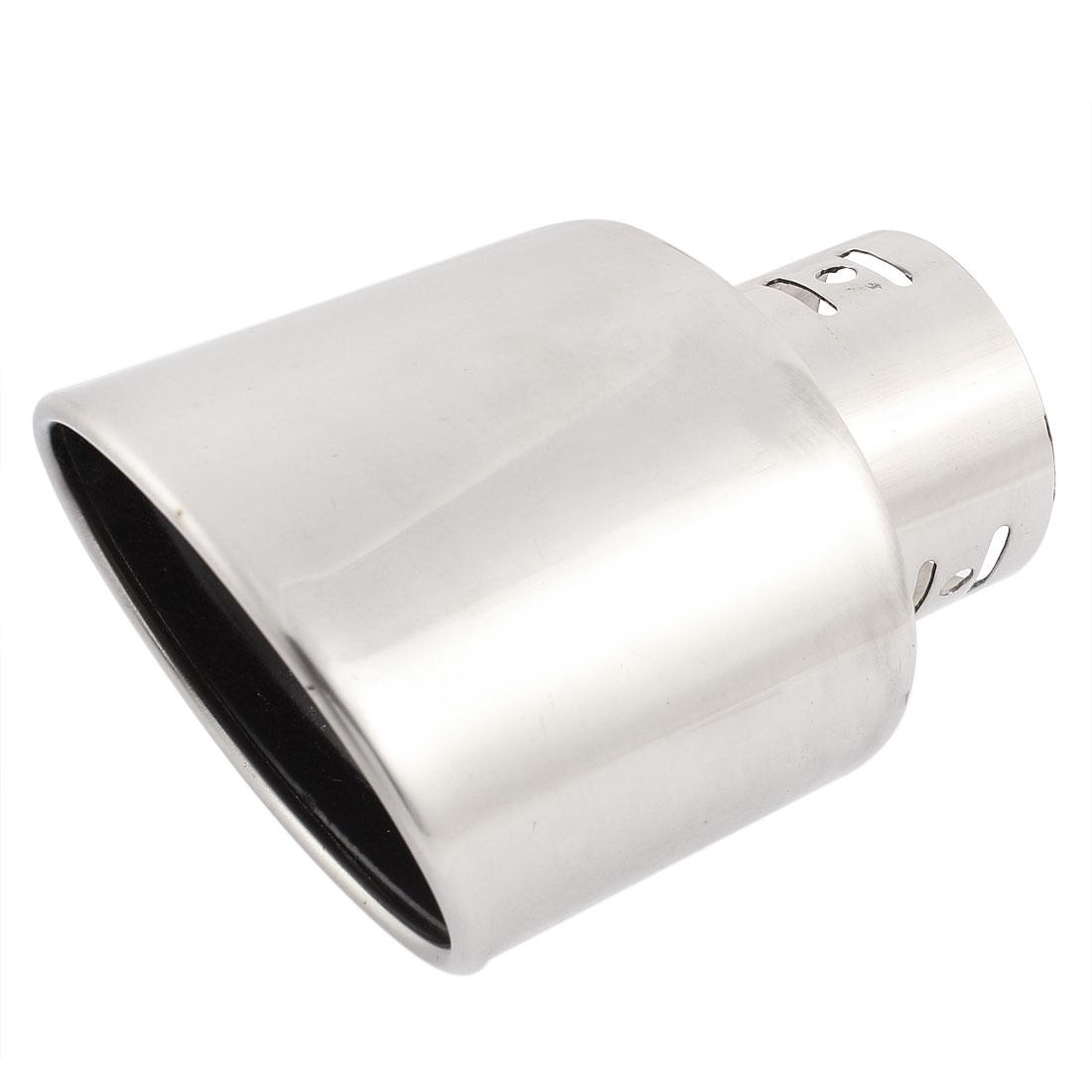 Car Angle Cut Slanted Exhaust Muffler Silencer Tip Pipe Silver Tone