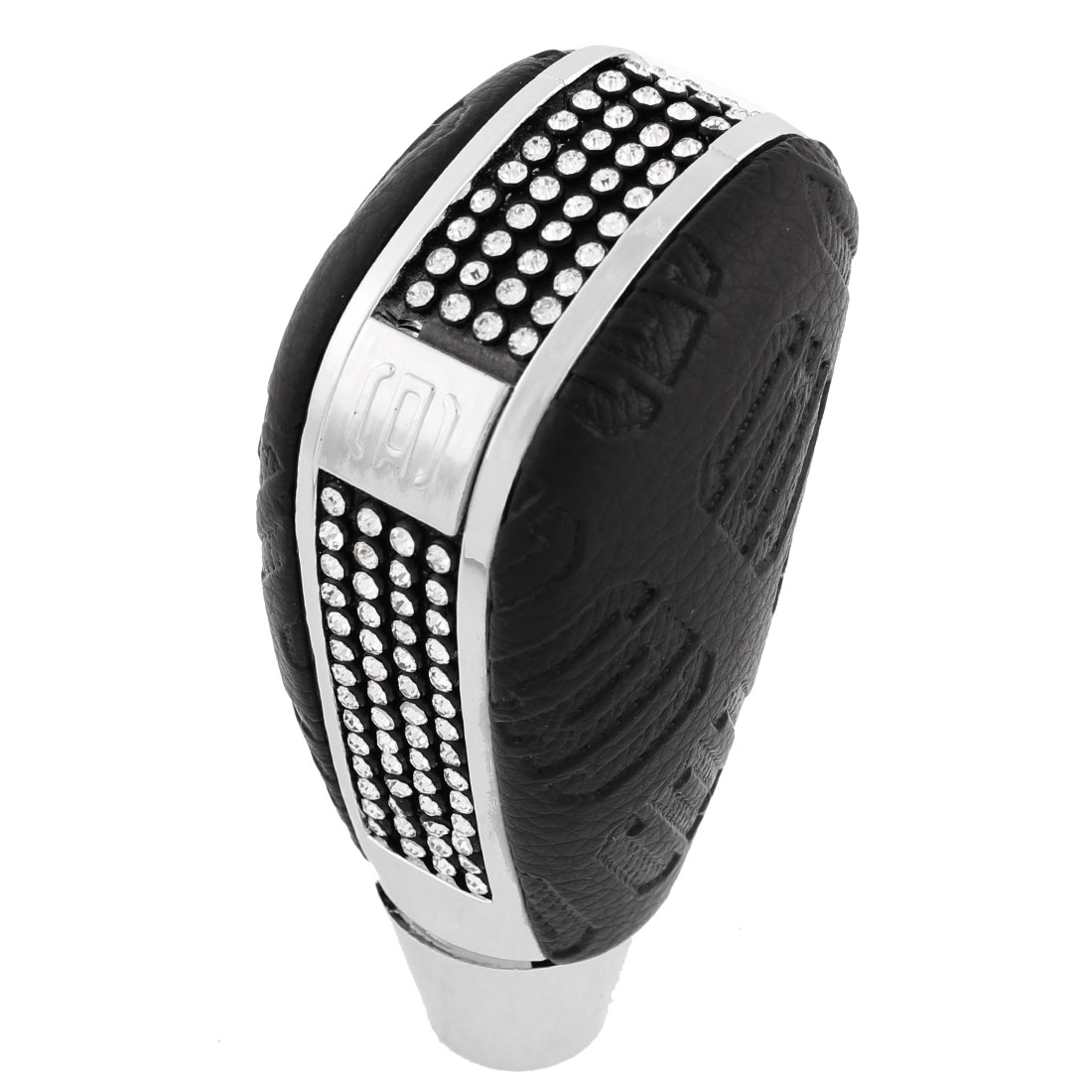 15mm Mounted Dia Black Silver Tone Rhinestone Decor Car Gear Shift Knob Cover