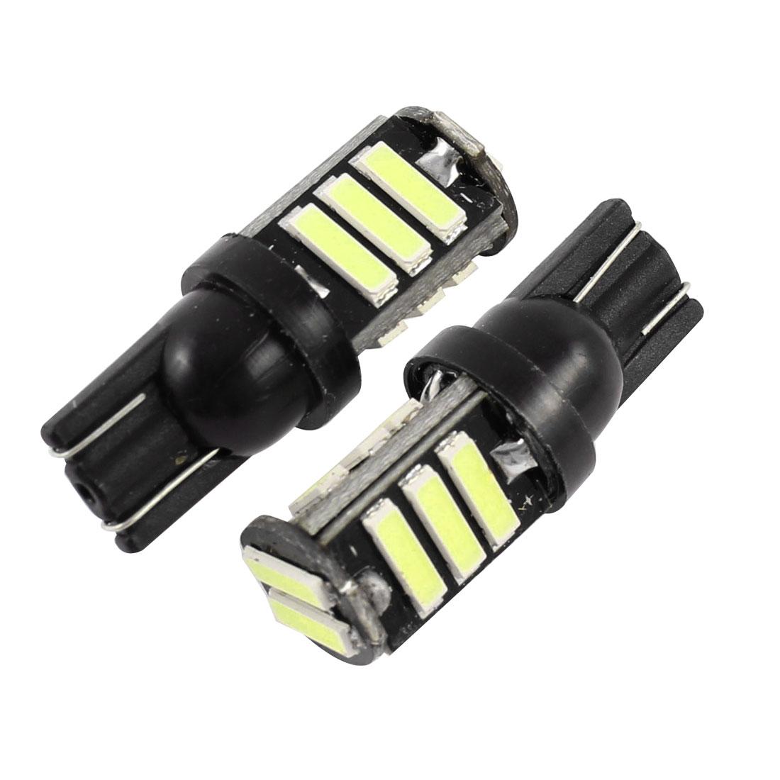 2 Pcs T10 W5W 7020 11-SMD LED Car Dashboard Light Bulbs White Internal