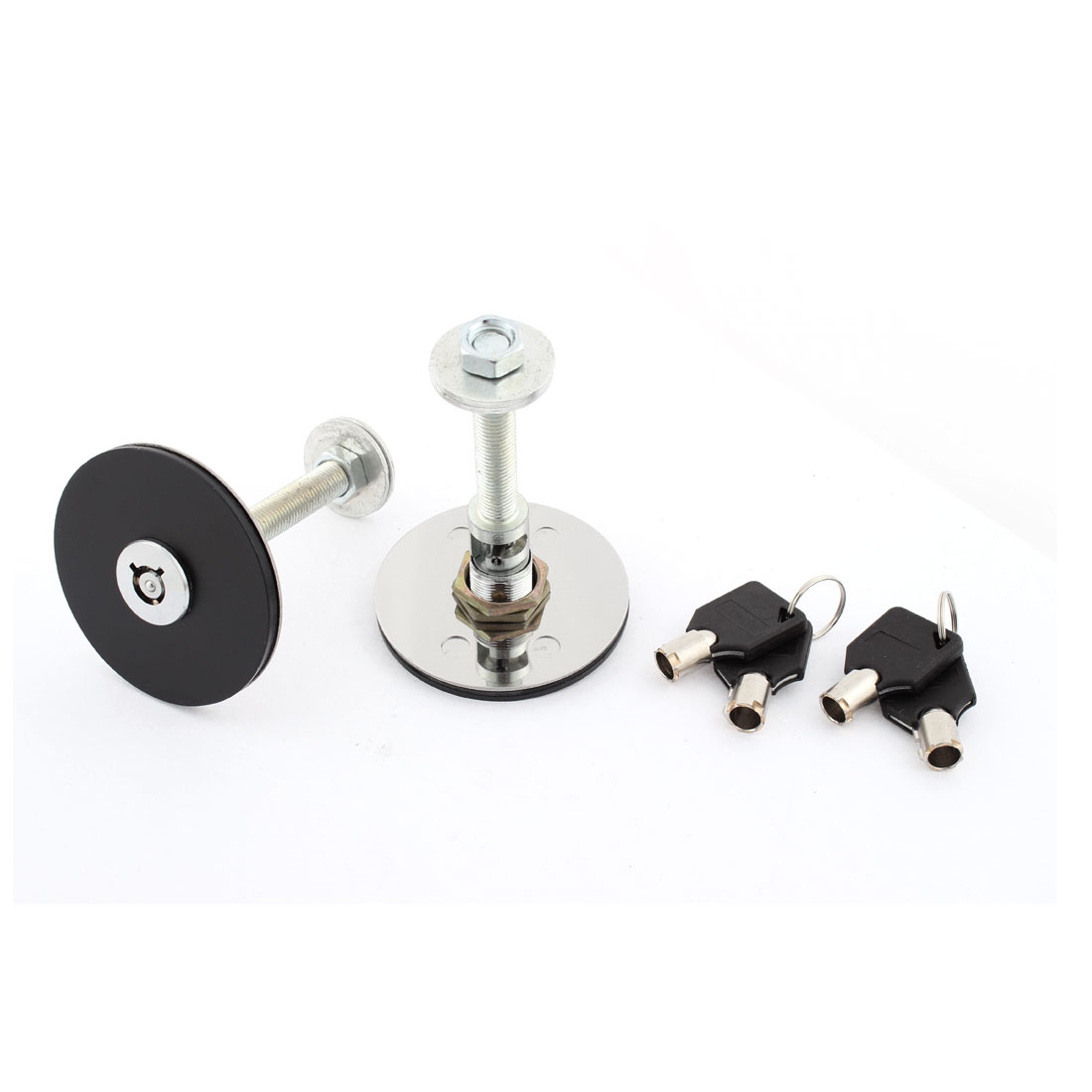 Pair Self Adhesive Alloy Racing Hood Pin Lock Kit Black for Car