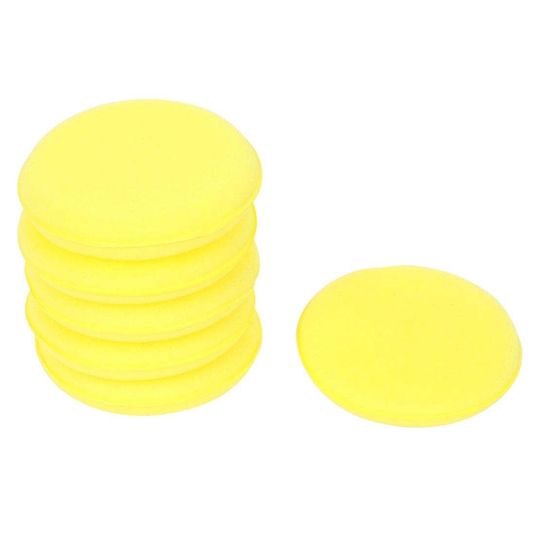 6pcs Yellow Round Shape Car Waxing Polishing Sponge Detailing Applicator Pads