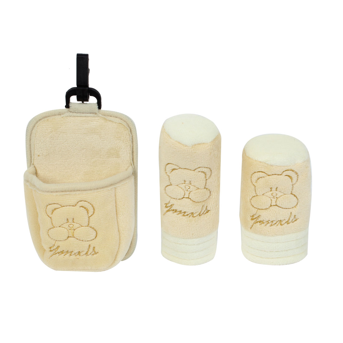 3 in 1 Beige Bear Pattern Car Shift Knob Handbrake Storage Pouch Cover Sleeve