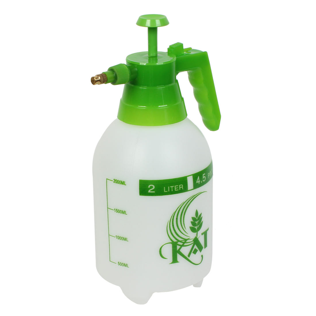 2L Gold Tone Nozzle Spraying Bottle Washing Pressure Sprayer Green White for Car Auto