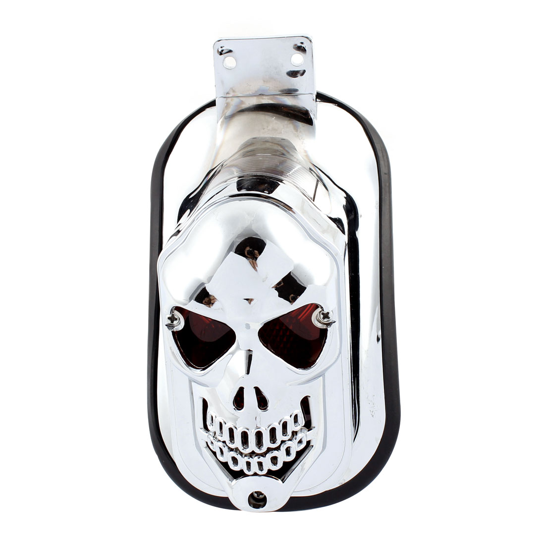 Motorcycle Yellow LED Lamp Silver Tone Skull Head Design Plastic Shell Rear Turn Tail Light DC 12V