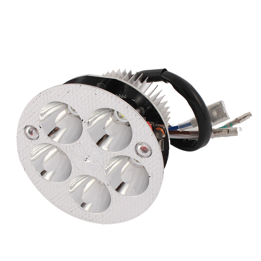 15W Silver Tone Metal 5 White LED Spot Light Decoration for Motorcycle