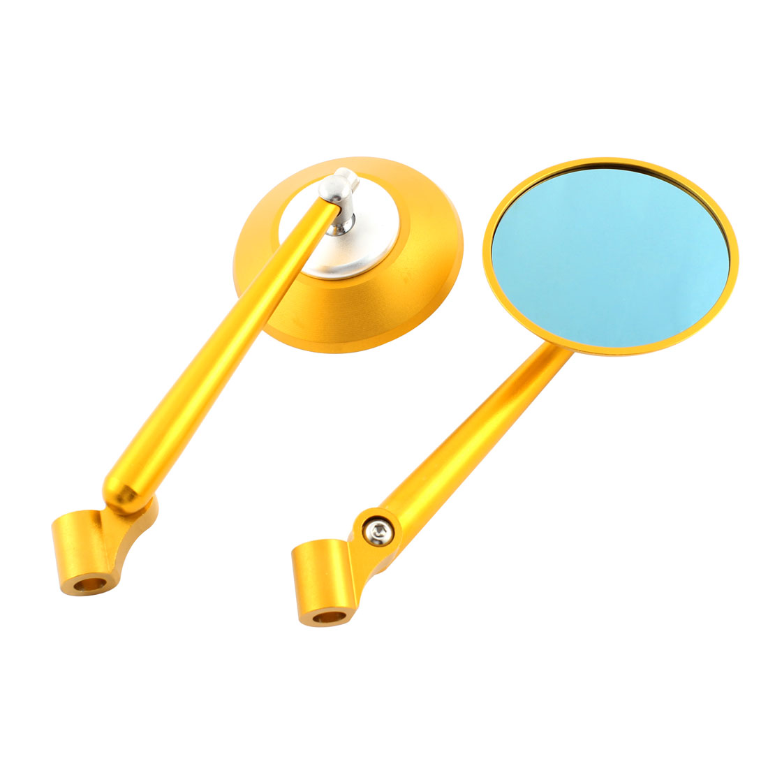 2 Pcs Round Side 360 Degree Wide Angle Motorcycle Blindspot Rearview Mirror Gold Tone