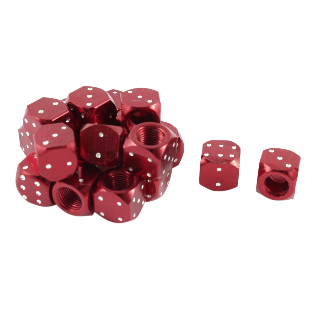 20 Pcs Motorcycle Red Dice Design Square Head Tyre Tire Valve Stem Caps Covers