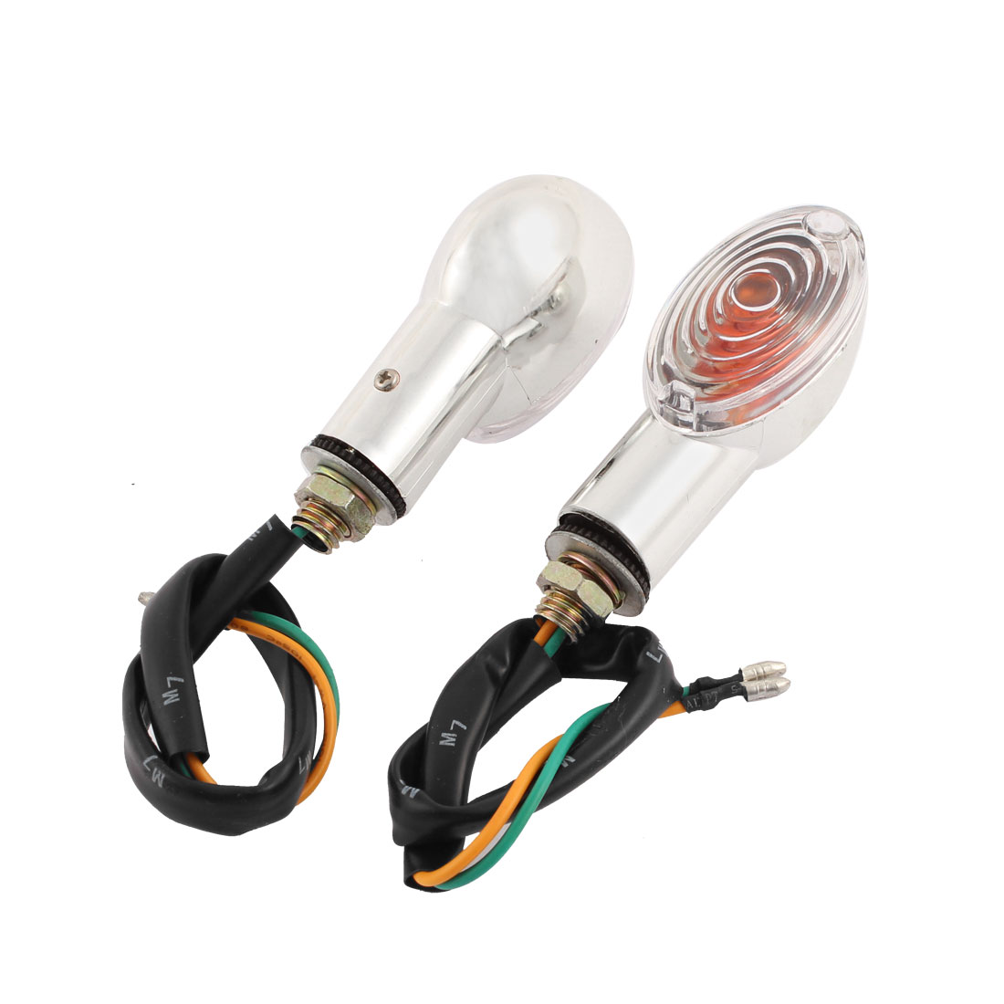 2 PCS Yellow LED Motorbike Turn Signal Indicator Lights Silver Tone