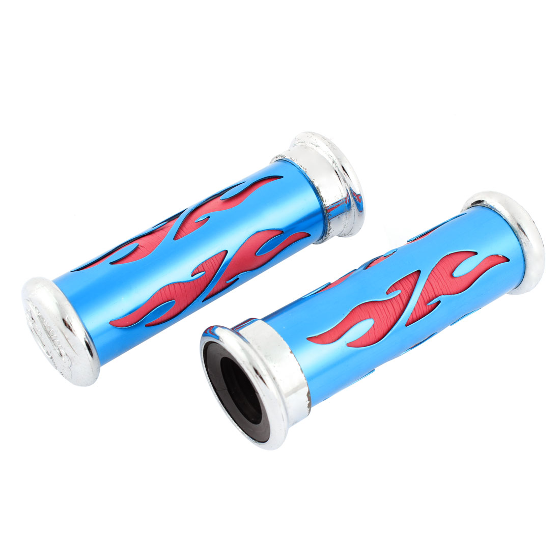 2 Pcs Motorcycle Red Fire Pattern Race Handlebar 25mm Grip Cover Blue