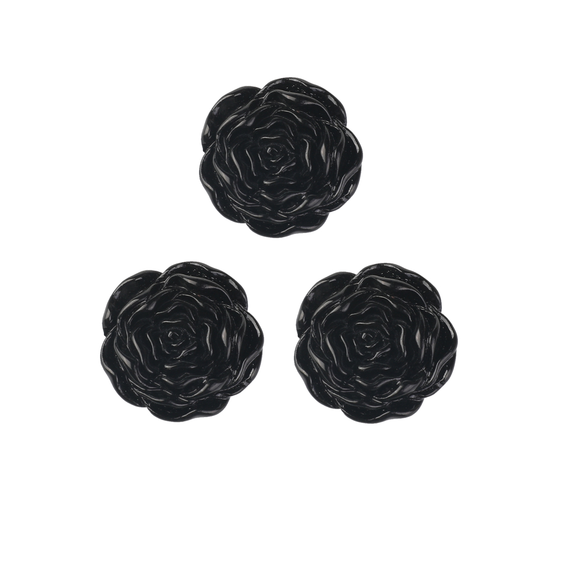 3 Pcs Plastic Rose Shape Sewing Craft Clothing Buttons Black