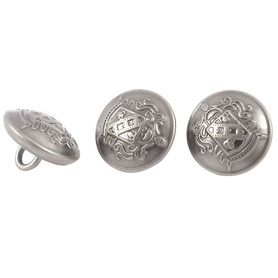 3 Pcs Metal Round Sewing Craft Clothes Clothing Buttons Gray