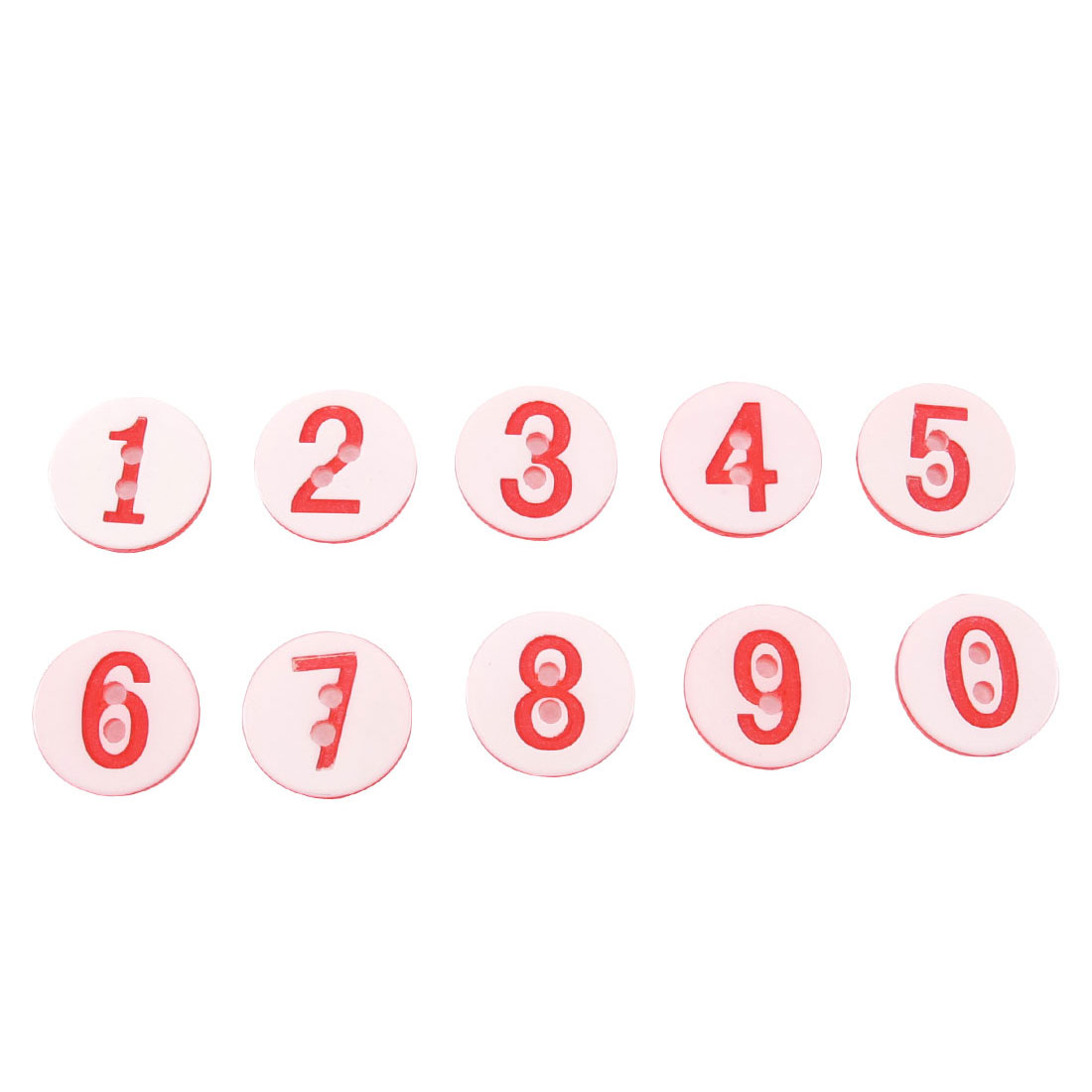 10 Pcs Plastic Numbers Printed Sewing Craft Clothing Buttons Red White