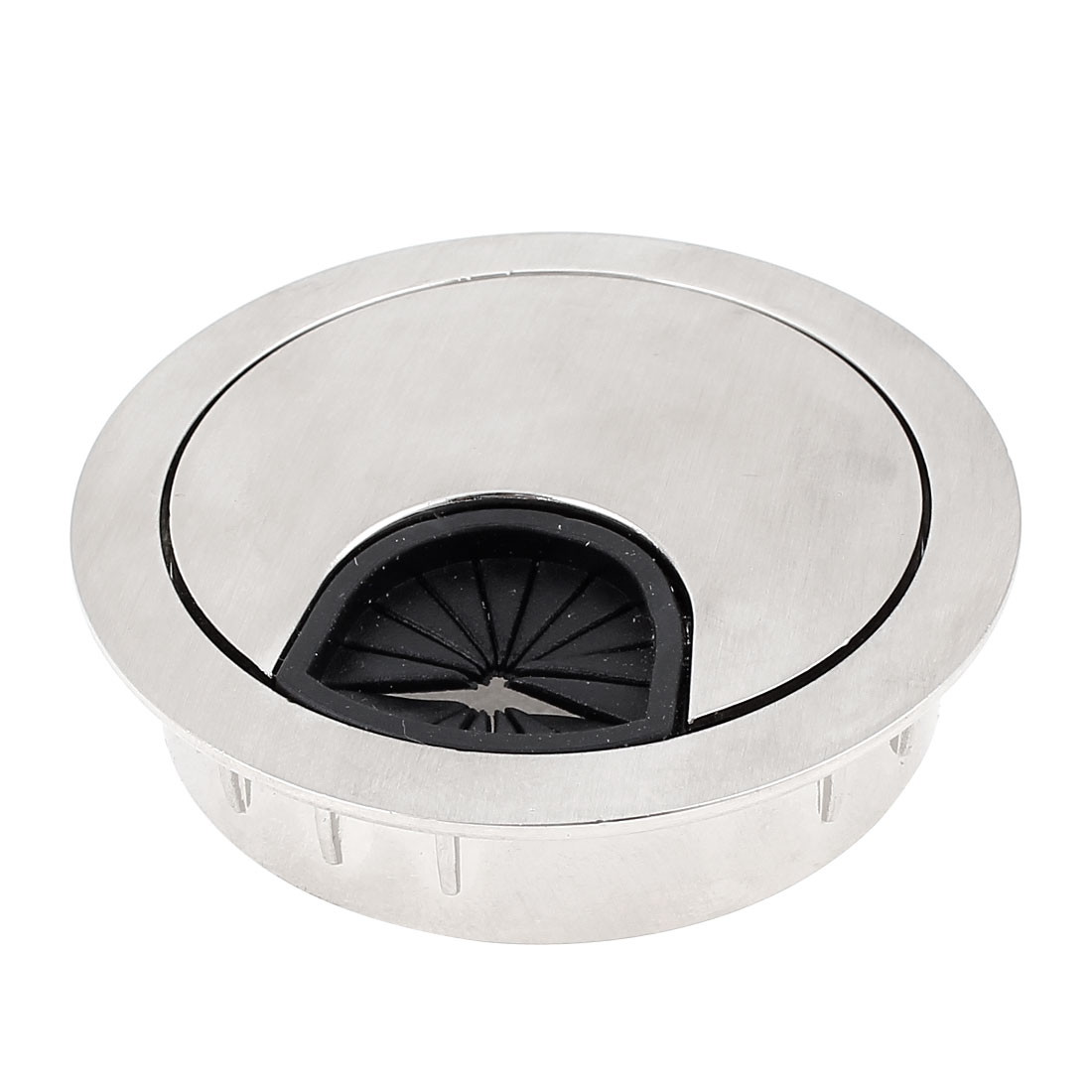 Matel Silver Tone Round Computer Desk Grommet Wire Cable Hole Cover 48mm