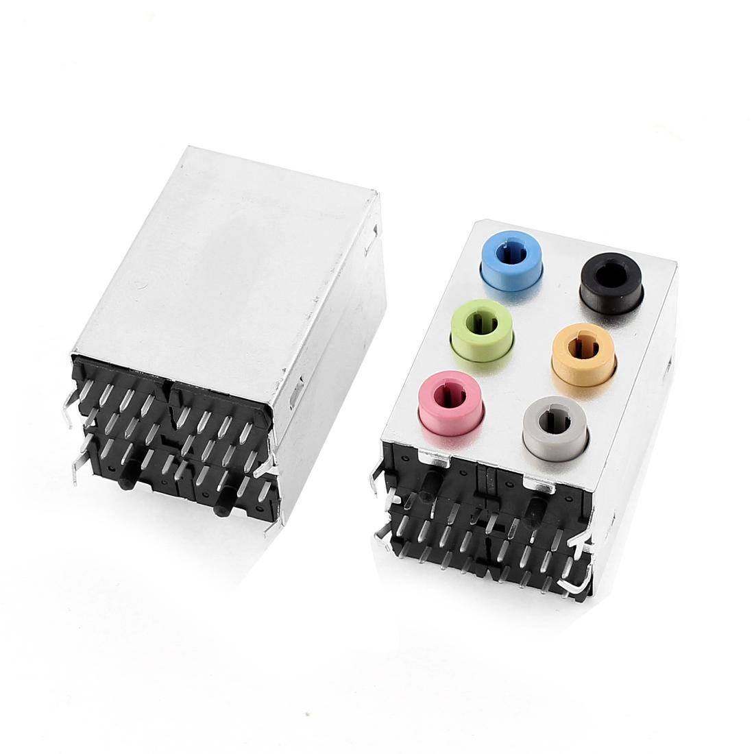 PCB Six Ports 3.5mm Stereo Jack Socket Audio Headphone Earphone Connector 2Pcs