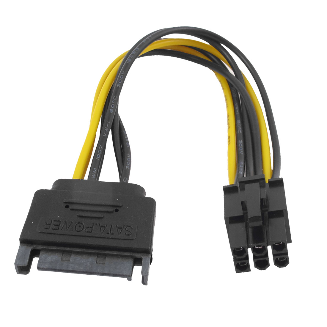 SATA 15 Pin Male to PCI-E 6 Pin Female M/F Video Card Power Cable