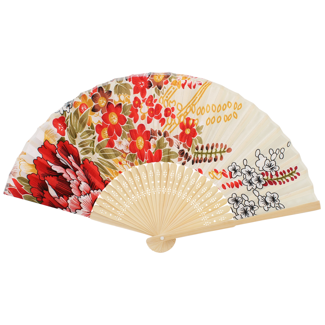 Chinese Style Bamboo Frame Handmade Flower Pattern Fabric Folding Hand Fan Beige