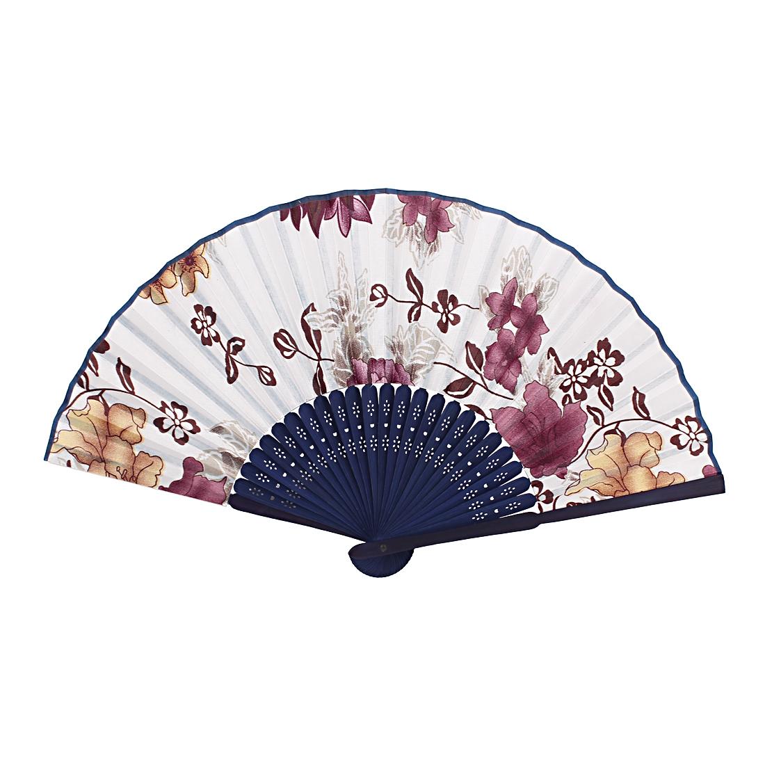 Vintage Style Bamboo Handle Flower Pattern Folding Hand Fan Dark Blue