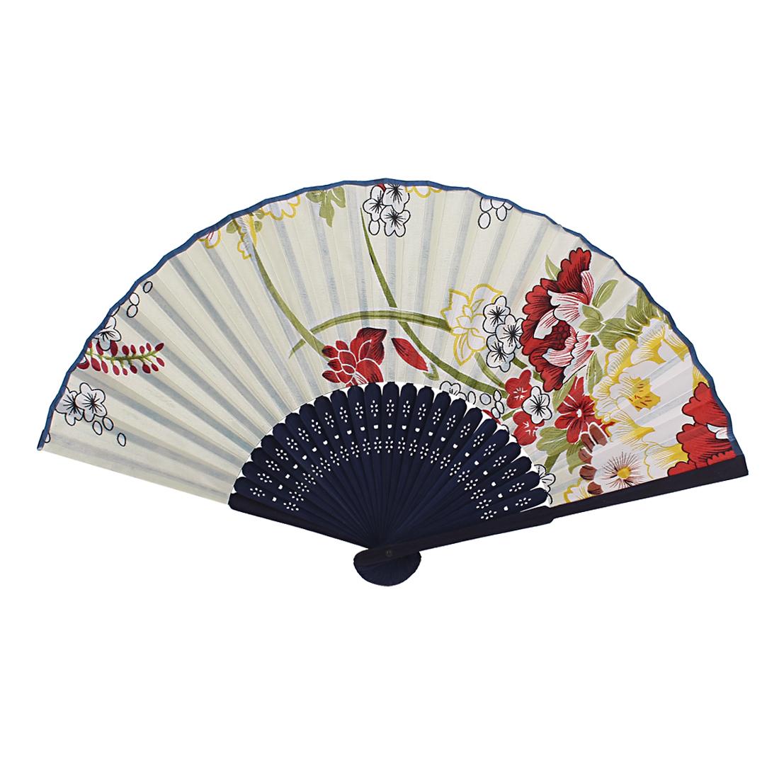 Chinese Japanese Asian Flower Pattern Bamboo Frame Folding Hand Fan Purple