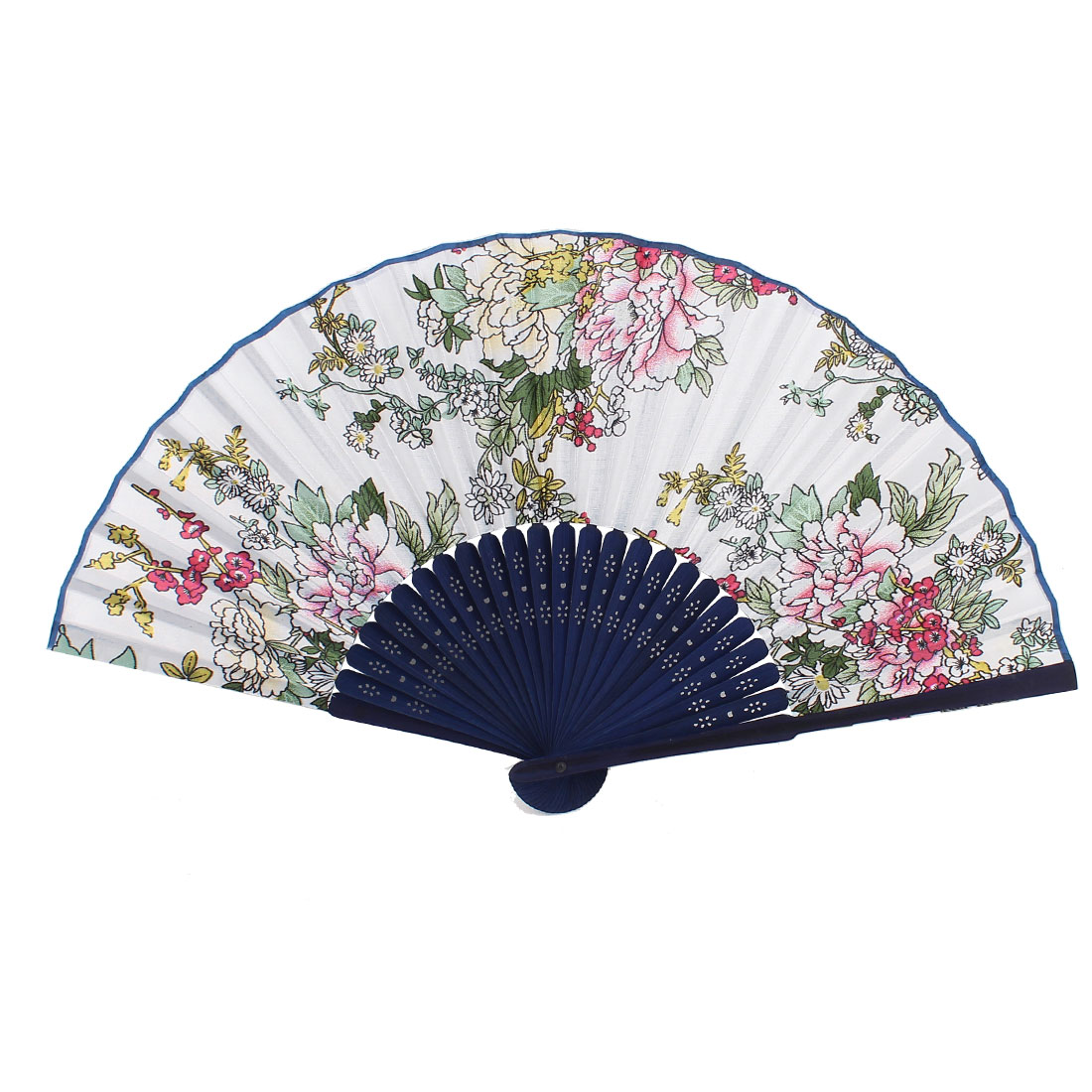 Chinese Style Bamboo Frame Handmade Flower Pattern Fabric Folding Hand Fan Blue