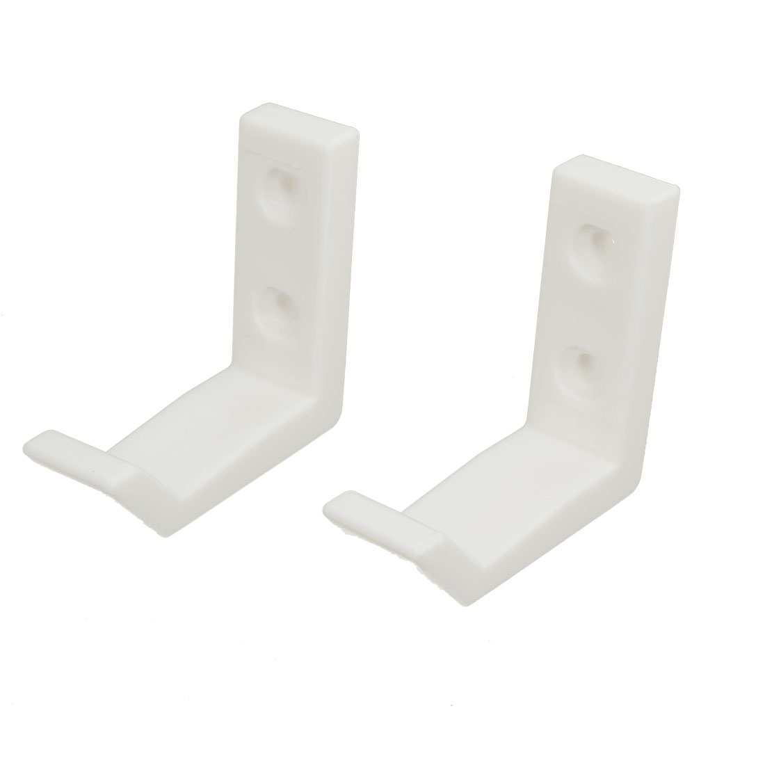 Bathroom Bedroom Plastic Wall Mounted Hanging Hook Hangers White 2pcs