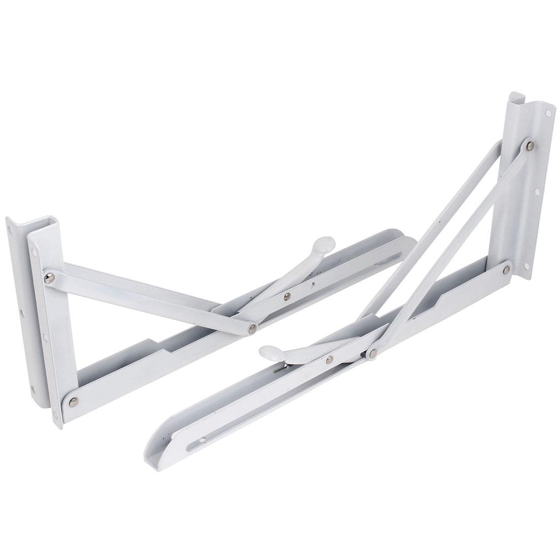 "White Painted Metal 90 Degree Angle Support Folding Shelf Bracket 14"" Long 2pcs"