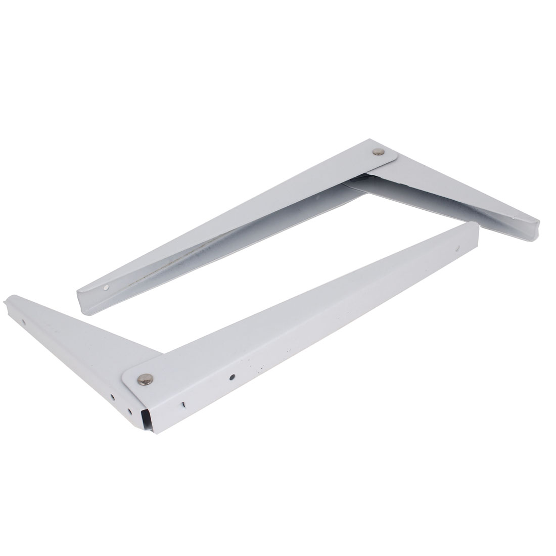 "2 Pcs 12"" x 7"" White Paint Folding Wall Mounting Holder Shelf Brackets 25mm Wide"