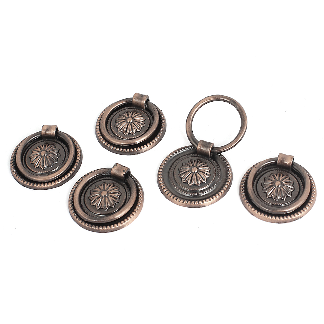 Cupboard Cabinet Drawer 36mm Dia Vintage Style Ring Pull Knob Handle 5 Pcs