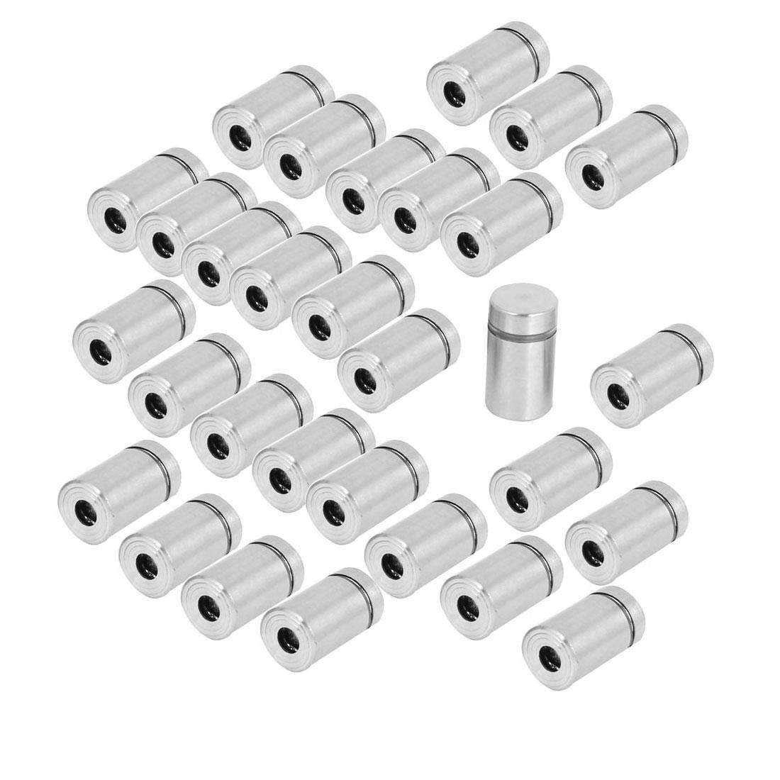 30 Pcs Stainless Steel Advertisement Fixing Screws Glass Standoff Pins 12mmx20mm