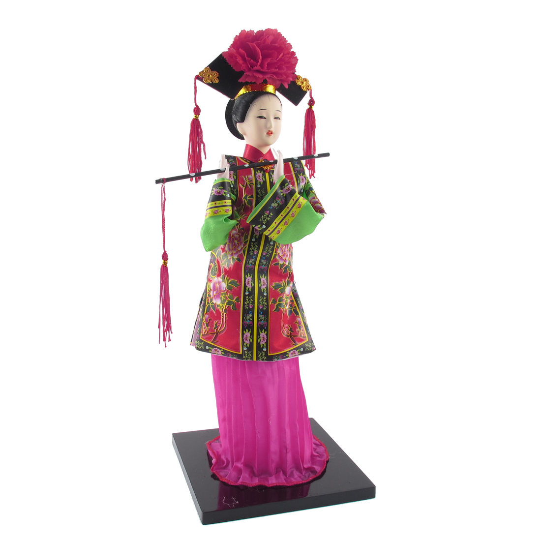 Oriental Broider Clothes China Qing Dynasty Princess Doll Figurine Red Green