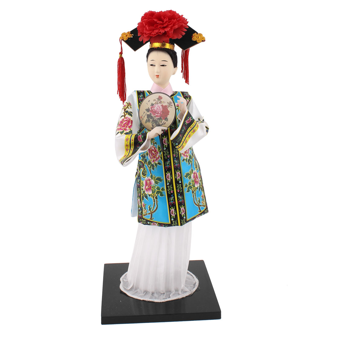 Oriental Broider Clothes China Qing Dynasty Princess Doll Figurine Green White