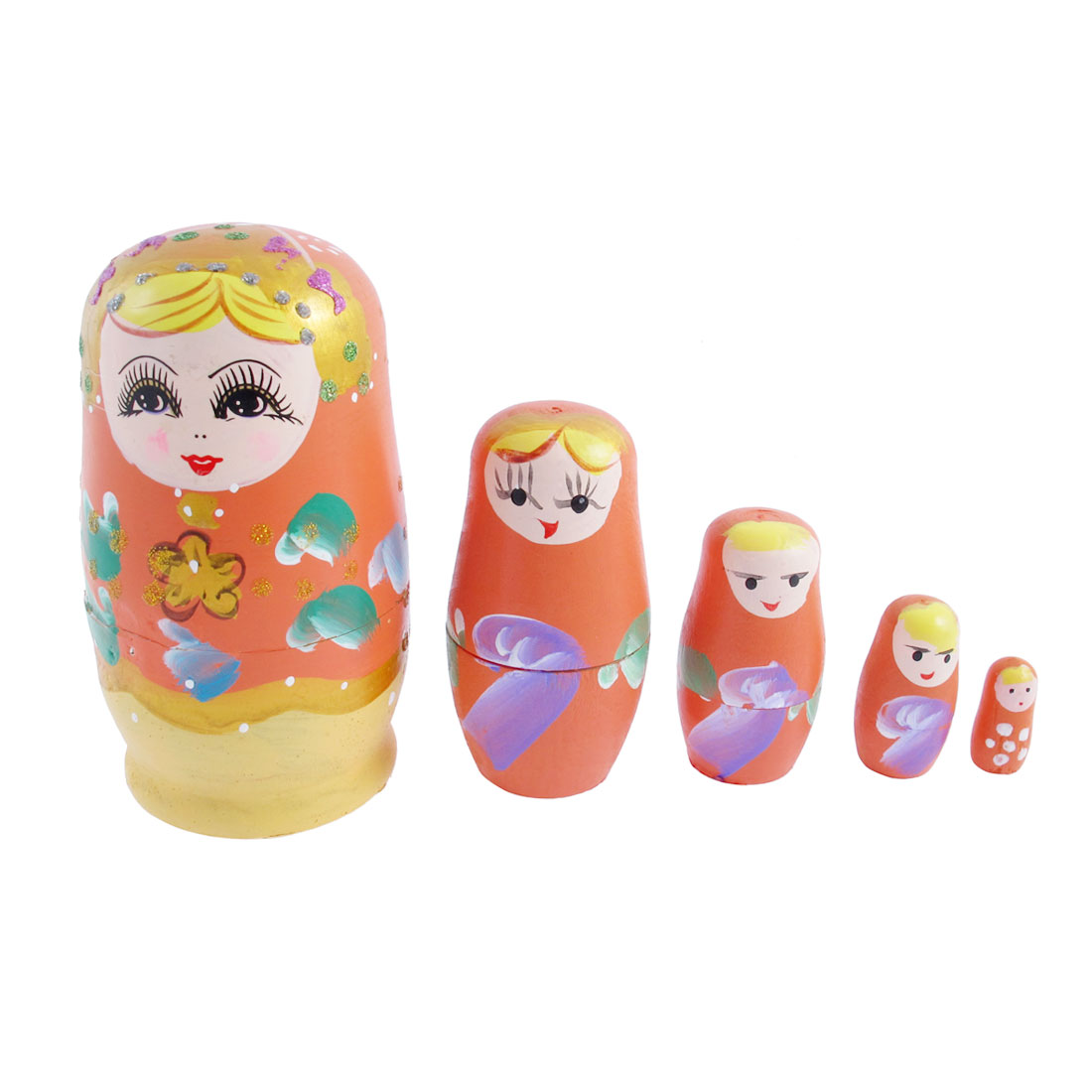 Russian Babushka Hand Painted Stacking Nesting Matryoshka Doll Orange 5 in 1