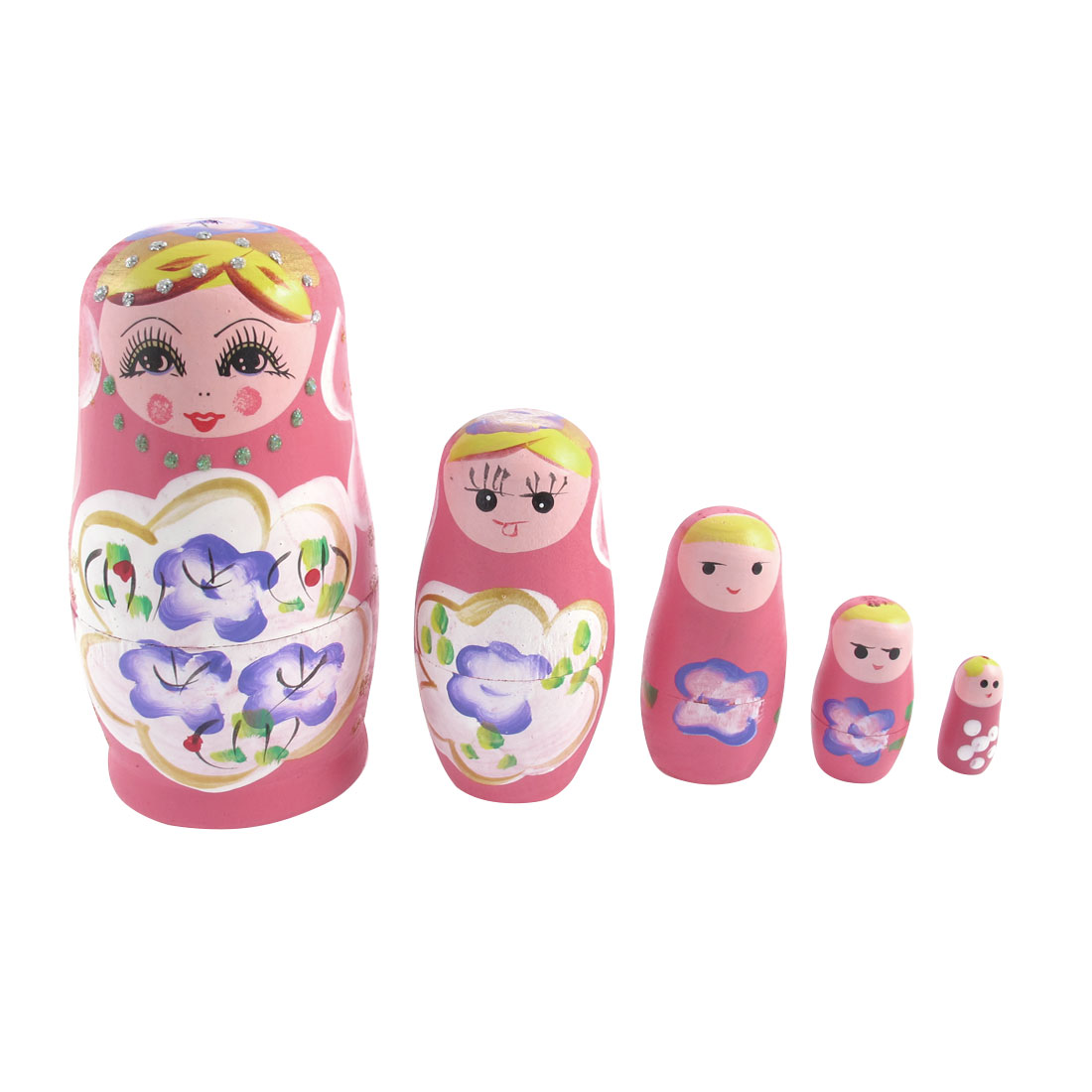 Girl Gift Wooden Russian Style Matryoshka Stacking Nesting Doll Pink 5 in 1