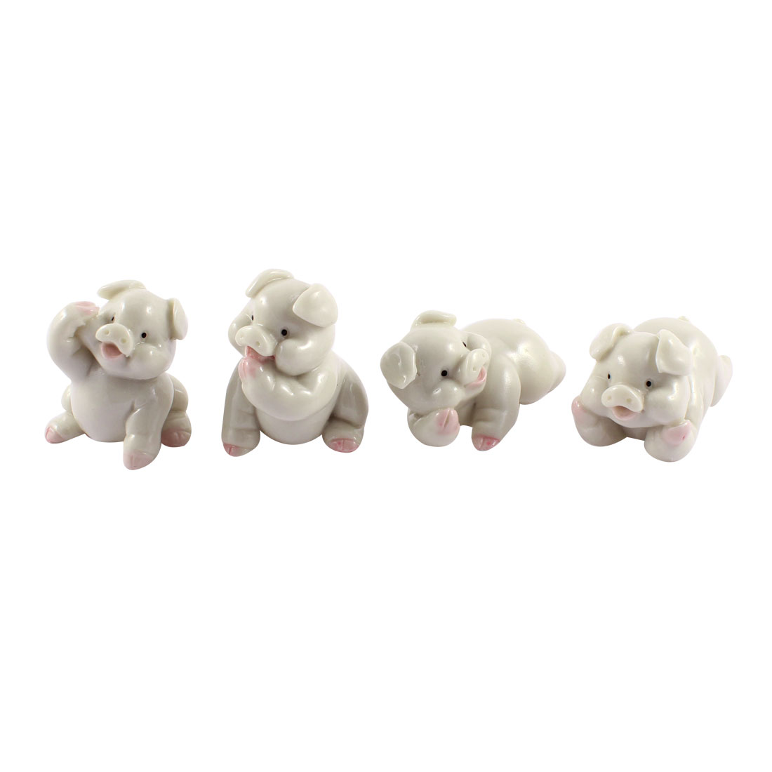 Hand Carved Ceramic Pig Statue Figurine Crafts Decor 4 in 1 White