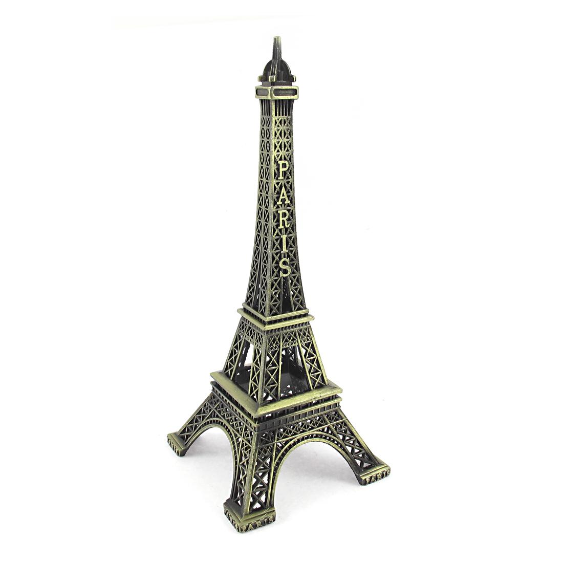 Bronze Tone Vintage Style Metal Paris Eiffel Tower Model Decor 15cm High