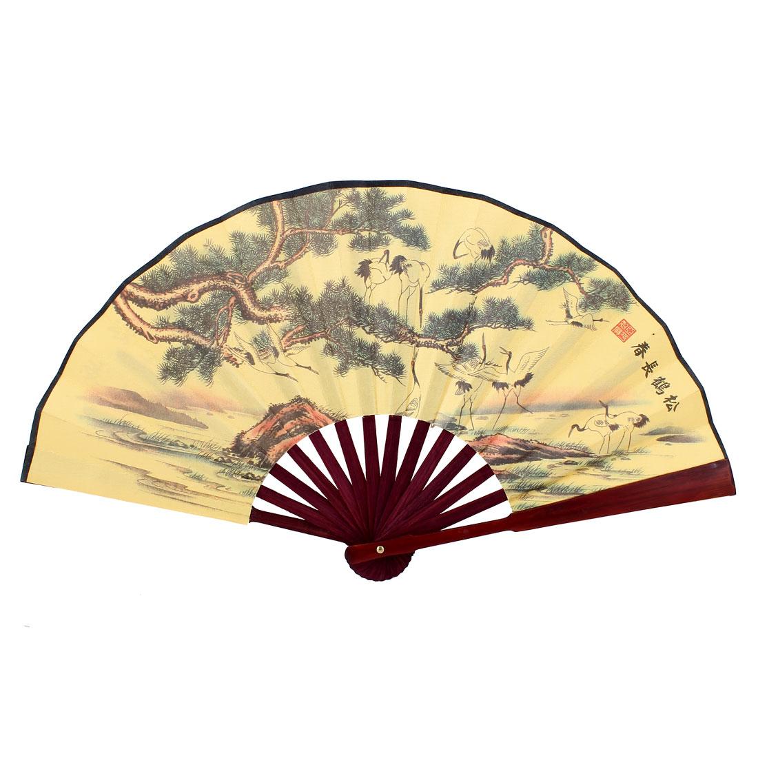 Bamboo Handle Chinese Poem Tree Crane Bird Print Folding Hand Fan 47cm Yellow