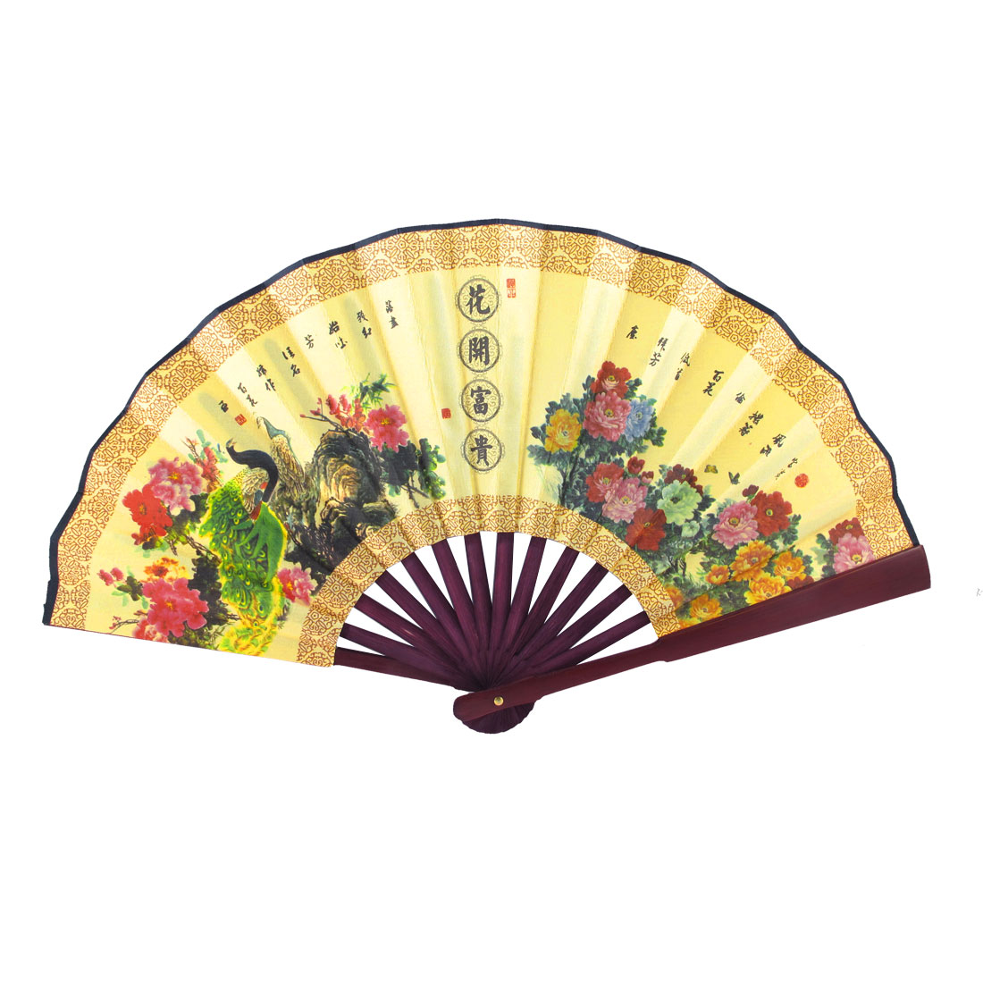 Bamboo Handle Peacock Flower Chinese Calligraphy Print Folding Hand Fan