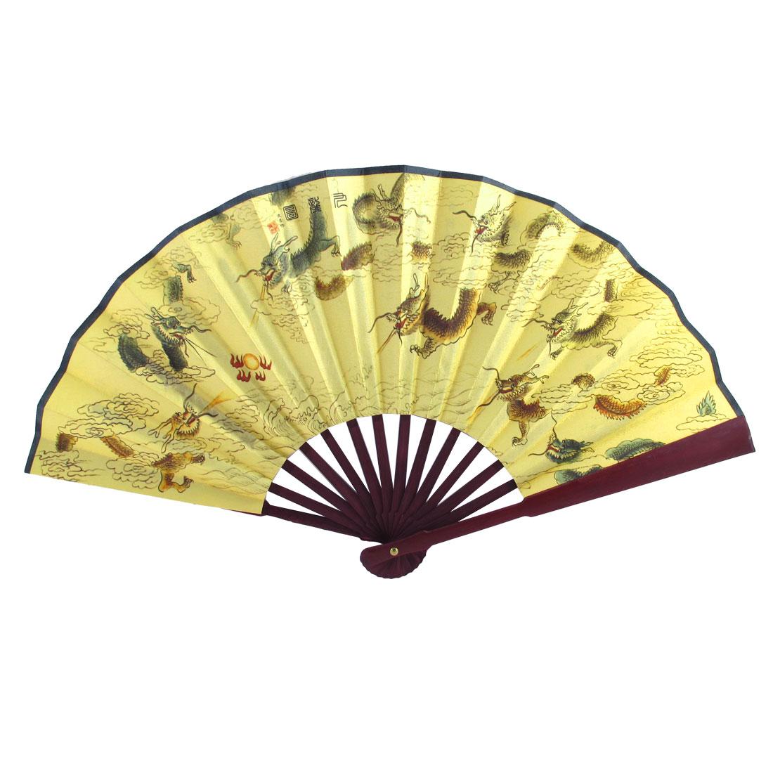 Bamboo Handle Dragon Chinese Poem Print Folding Hand Fan 47cm Width Yellow