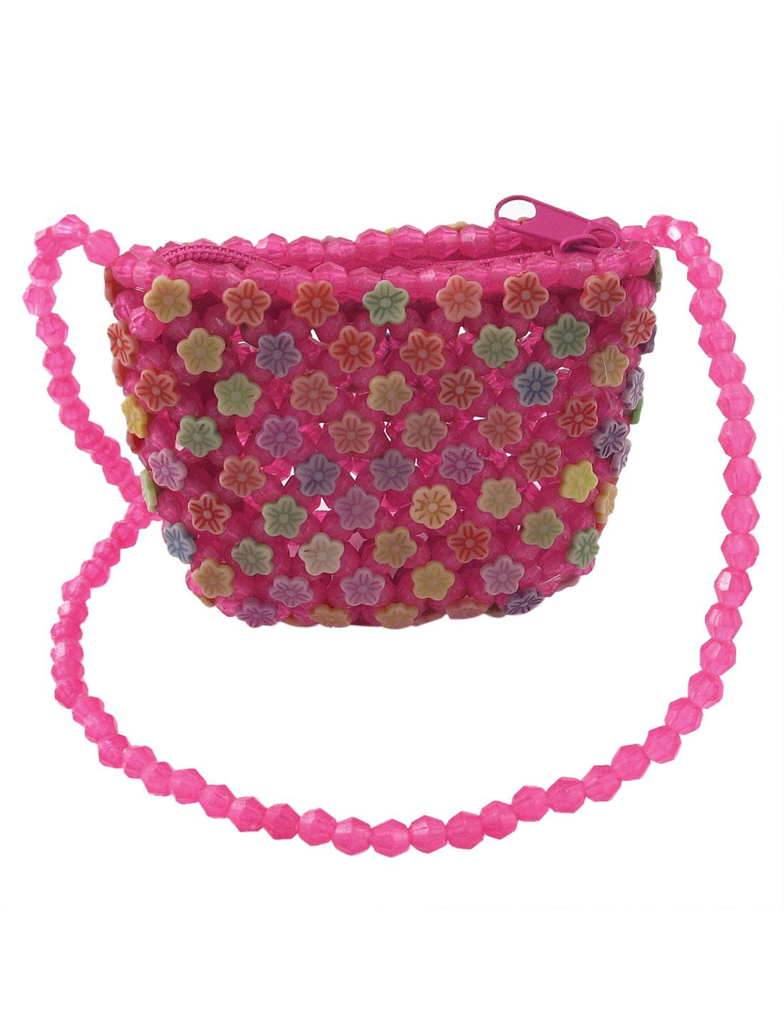 Girls Flower Detail Zipper Closure Hollow Out Beading Cross-Body Bag Pink