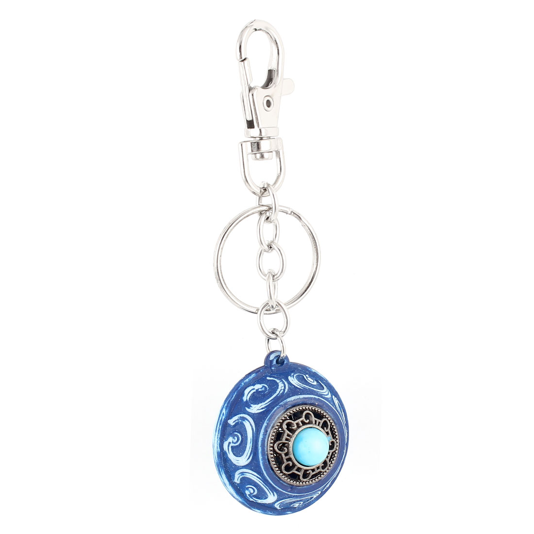 Metal Hollow Out Bells Pendant Bag Decor Keychain Key Holder Keyring Blue