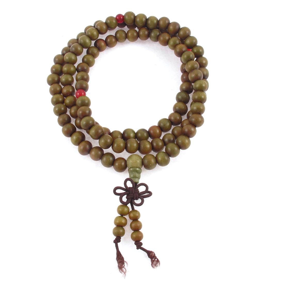 Sandalwood Knot Pendant 108 Beads Adorn Buddhist Prayer Stretchy Bracelet