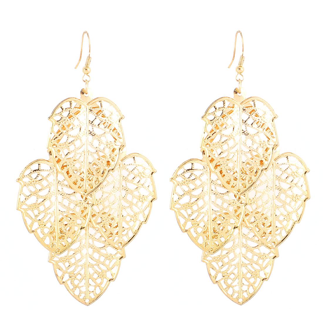 Leaf Shaped Pendant Hook Dangle Eardrop Earrings Pair Gold Tone for Lady